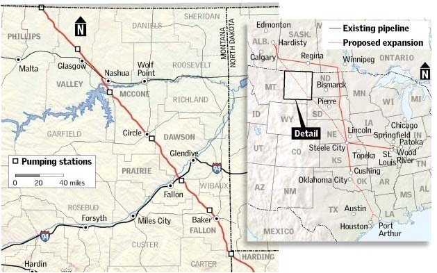 Proposed route for the Keystone XL Pipeline through Montana, courtesy of Victor Ady, Billings Gazette staff.